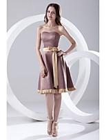 Lanting Knee-length Satin Bridesmaid Dress - Brown A-line Strapless