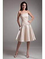 Lanting Knee-length Stretch Satin Bridesmaid Dress - Champagne A-line Strapless
