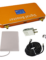 New LCD Display 3G 2100MHz Mobile Phone Signal Booster with Whip and Panel Antenna Kit Coverage 1000m² Gold