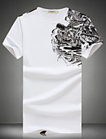 Men's Casual Slim Abstract Pattern Printed T-Shirt , Cotton / Polyester Casual / Plus Sizes Print