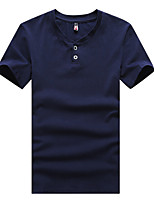 Men's Fashion Solid Color Round Collar Slim Fit Short-Sleeve T-Shirt