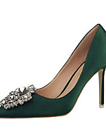 Women's Shoes Silk Stiletto Heel Heels Heels Casual Black / Green / Pink / Red / Silver / Gray / Gold