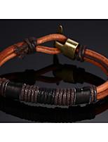 Leather Woven  Brass Buckle Men Bracelet