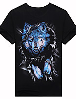 Men's Short Sleeve T-Shirt,Cotton Casual / Work / Formal / Sport Print 3D - a short sleeved summer T-shirt Wolf