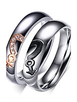 AAA Zirconium Drill Male Female Symbols Titanium Steel Heart-shaped Puzzle Couples Ring