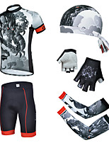 CHEJI Breathable Bike Bicycle Short Sleeve Suit & Pirate Hat + Gloves + Sleeves
