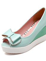 Chaussures Femme-Habillé / Décontracté / Soirée & Evénement-Bleu / Rose / Blanc-Talon Compensé-Bout Ouvert / A Plateau-Sandales-Similicuir