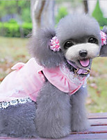 Dog Dress Blue / Pink Spring/Fall Solid Fashion