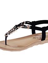 Zapatos de mujer-Tacón Bajo-Comfort-Sandalias-Exterior / Casual-Tul / Semicuero-Negro / Azul / Beige