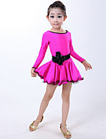 Latin Dance Dresses Children's Training Spandex Ruffles 1 Piece Black / Red