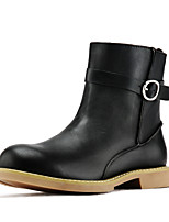 Women's Shoes Nappa Leather Flat Heel Combat Boots Boots Outdoor Black / Brown