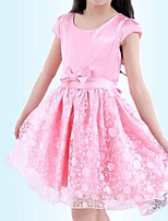 Girl's Pink / White Dress,Ruffle / Lace Polyester Summer / Spring