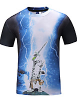 Men's Short Sleeve T-Shirt , Polyester Casual Print