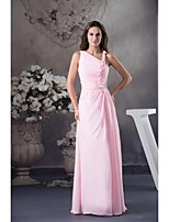 Lanting Floor-length Chiffon Bridesmaid Dress - Blushing Pink Ball Gown Notched