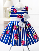 Girl's Black / Blue Dress , Floral Cotton / Polyester All Seasons