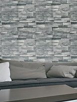 HaokHome® Modern Faux Brick Wallpaper Roll Gray 3D Stone Realistic Paper Room Kitchen Wall Decoration Wall Covering