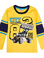 Boy's Cartoon T shirt Long Sleeve Dig Letter Printing Children Tees(Random Print)