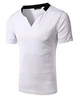 Katoen - Effen - Heren - T-shirt - Informeel - Korte mouw