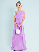 Lan Ting Floor-length Chiffon Junior Bridesmaid Dress-Lilac Sheath/Column One Shoulder