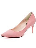 Damen-High Heels-Kleid-Wildleder-Stöckelabsatz-Komfort-Schwarz Grau Fuchsia Rosa