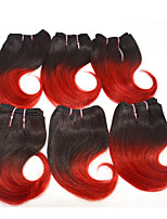 Good Cheap 4pcs/set Ombre Human Hair Weave Wet Wavy Ombre 2 tone Color #1B/red 8inch 100g