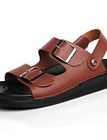 Sapatos Masculinos-Sandálias-Preto / Marrom / Branco-Napa Leather-Ar-Livre / Escritório & Trabalho / Trabalho / Casual / Para Esporte