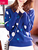 Women's Polka Dot Blue / Red / Black Pullover , Cute Long Sleeve