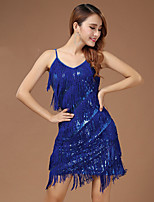 Performance Dresses Women's Performance Polyester Paillettes / Tassel(s) 1 Piece Blue / Fuchsia / White And Silver