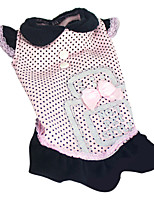 Dog Dress Black / Pink Spring/Fall Polka Dots / Bowknot Fashion