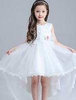 A-line Asymmetrical Flower Girl Dress - Organza / Satin Sleeveless