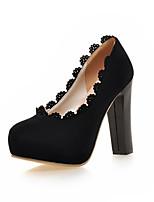 Chaussures Femme-Mariage / Bureau & Travail / Habillé / Soirée & Evénement-Noir / Rouge-Gros Talon-Talons-Talons-Similicuir