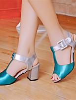 Women's Shoes Glitter / Leatherette Chunky Heel Heels / Peep Toe Sandals Office & Career / Dress / Blue / Red / Beige