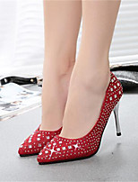 Zapatos de mujer-Tacón Stiletto-Tacones-Tacones-Boda / Fiesta y Noche-Semicuero-Rojo / Plata / Oro