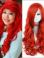 Hot Selling! Top Quality Red Color Long Wave Style Synthetic Wigs
