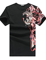 Men's Short Sleeve T-Shirt , Cotton / Spandex  Plus Sizes Embroidery Print Chinese Style T-Shirt