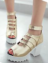 Women's Shoes Leatherette Chunky Heel Peep Toe / Platform Sandals Office & Career / Dress / Casual Black / Silver / Gold
