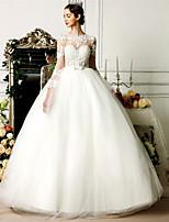Ball Gown Wedding Dress - Ivory Floor-length Jewel Tulle