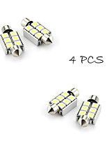 4XFestoon 6x5050 SMD White LED Car Brake Light(DC 12V, 36mm)