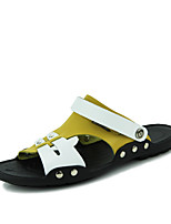 Men's Shoes Outdoor / Casual Leather Sandals Blue / Brown / Yellow