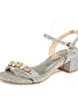 Chaussures Femme-Habillé / Décontracté / Soirée & Evénement-Argent / Or-Gros Talon-Talons / Bout Ouvert-Sandales-Paillette / Matières