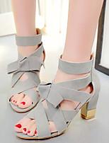 Women's Shoes Fleece Chunky Heel Heels / Open Toe Sandals Office & Career / Dress / Casual Black / Pink / Gray