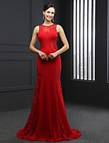 Formal Evening Dress - Ruby Trumpet/Mermaid Jewel Chapel Train Satin