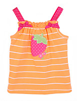 Girl's Orange Dress,Stripes Cotton Summer