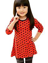 Vestido Chica de-Primavera / Otoño-Algodón-Azul / Rojo