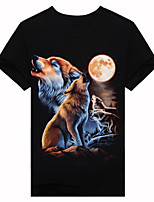 Men's Short Sleeve T-Shirt,Cotton Casual / Work / Formal / Sport Print 3D forest wolf T-shirt a short sleeved summer