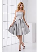 lanting vestido de dama de satén del estiramiento de la rodilla-longitud - plata una línea de tren