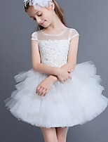 A-line Short/Mini Flower Girl Dress - Lace / Tulle Sleeveless