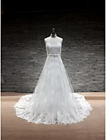 A-line Wedding Dress - White Chapel Train Sweetheart Lace / Satin / Tulle