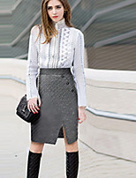 Women's Solid Black / Gray Skirts,Casual / Day Knee-length
