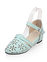 Zapatos de mujer-Tacón Plano-Punta Redonda-Sandalias-Casual-Semicuero-Azul / Rosa / Morado / Blanco
